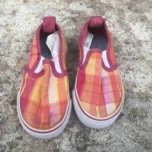 Tommy Hilfiger Shoes - Tommy Hilfiger Kids Plaid Slip On Pink Orange Shoe